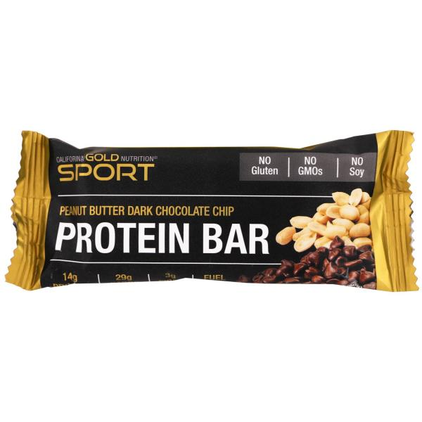 California Gold Nutrition, Спорт, Протеиновый батончик, арахисовое масло и темный шоколад, Без глютена, 2,1 унция (60 г)