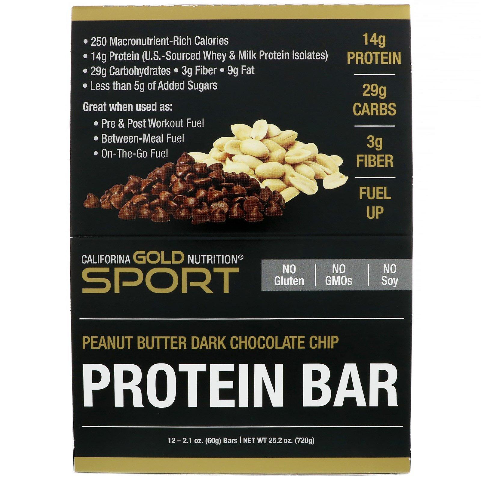 California Gold Nutrition, Протеиновые батончики, арахисовая паста и шоколадная крошка, без глютена, 12 батончиков, 2,1 унции (60 г) каждый