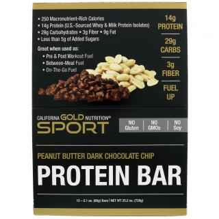California Gold Nutrition, Protein Bars, Peanut Butter Dark Chocolate Chip, 12 Bars, 2.1 oz (60 g) Each