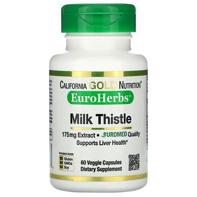 California Gold Nutrition EuroHerbs, экстракт расторопши, 80% силимарина, 175мг, 60растительных капсул