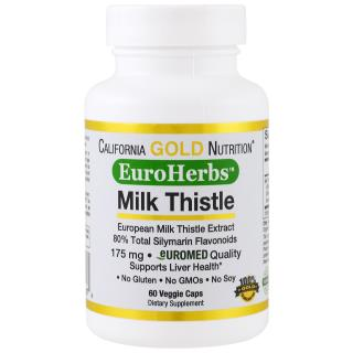California Gold Nutrition, Milk Thistle Extract, EuroHerbs, Clinical Strength, 60 Veggie Caps