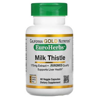California Gold Nutrition, Milk Thistle Extract, EuroHerbs, European Quality, 175 mg, 60 Veggie Capsules