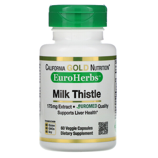 California Gold Nutrition, EuroHerbs, Milk Thistle Extract, 80% Silymarin, 175 mg, 60 Veggie Caps