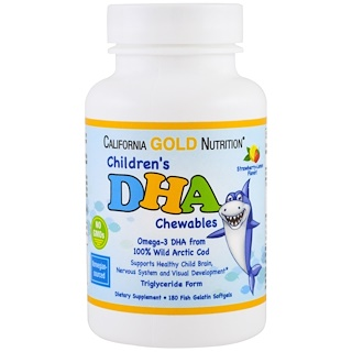 California Gold Nutrition, Children's DHA Chewables, 100% Wild Arctic Cod, Strawberry-Lemon Flavor, 180 Fish Gelatin Softgels