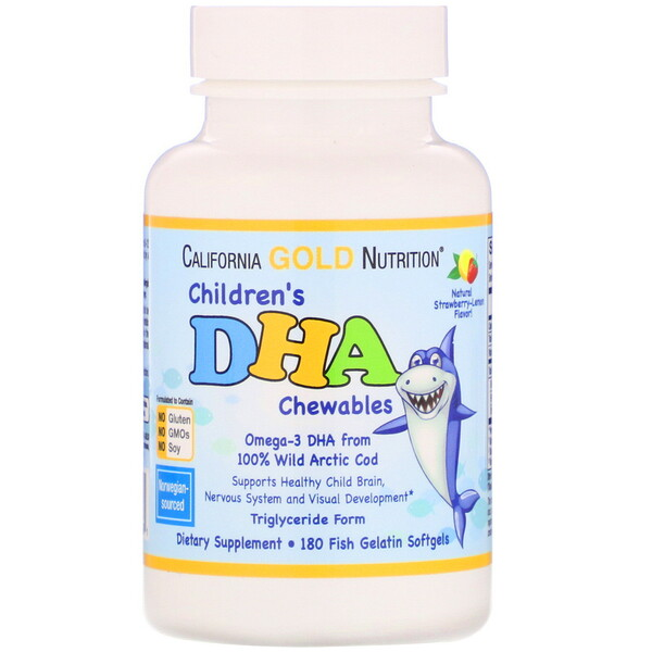 California Gold Nutrition, Masticables con DHA para niños, Bacalao ártico 100% salvaje, Sabor a fresa y limón, 180cápsulas blandas de gelatina de pescado