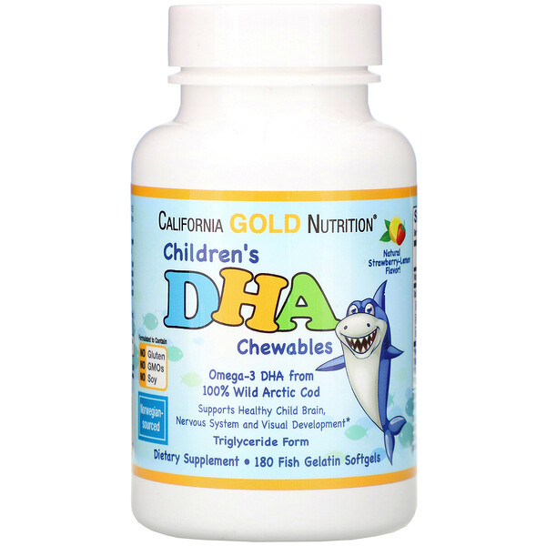 California Gold Nutrition, Children's DHA Chewables, 100% Wild Arctic Cod, Strawberry-Lemon Flavor, 180 Fish Gelatin Softgels