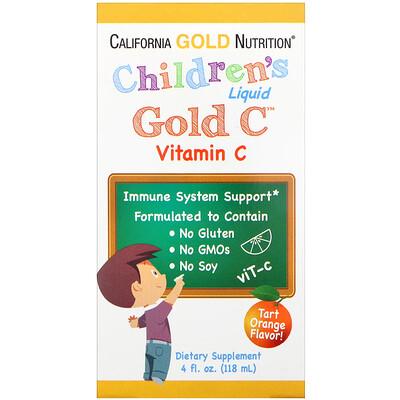 Купить GoldC, витаминC в жидкой форме для детей, класса USP, натуральный апельсиновый вкус, 118мл (4жидк.унции)