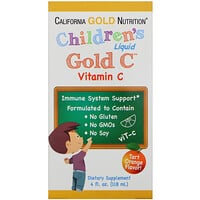 California Gold Nutrition, Vitamine C Children's Liquid Gold, qualité USP, Arôme d'orange naturel, 4 oz fl (118 ml)