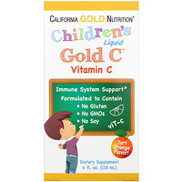 "California Gold Nutrition, ויטמין C Gold נוזלי לילדים, בדרגת USP, טעם תפוז טבעי, 118 מ""ל (4 fl oz)"