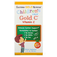 California Gold Nutrition, Children's Liquid Gold Vitamin C, USP Grade, Natural Orange Flavor, 4 fl oz (118 ml)