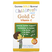 California Gold Nutrition, Children's Liquid Gold C, Vitamina C, Classe USP, Sabor Natural de Laranja, 118 ml (4 fl oz)