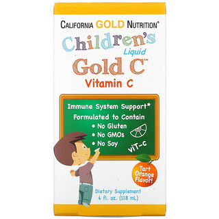 California Gold Nutrition, Children's Liquid Gold Vitamin C, USP Grade, Tart Orange Flavor, 4 fl oz (118 ml)