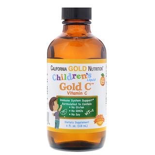 California Gold Nutrition, Children's Liquid Gold Vitamin C, USPグレード, 天然オレンジ味, 4液量オンス(118ml)