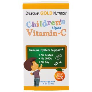 California Gold Nutrition, Children's Liquid Vitamin C, Orange Flavor, No GMOs, 4 fl oz (118 ml)