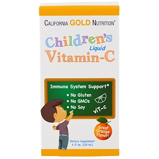 California Gold Nutrition, Children's Liquid Vitamin C, Orange Flavor, No GMOs, 4 fl oz (118 ml)