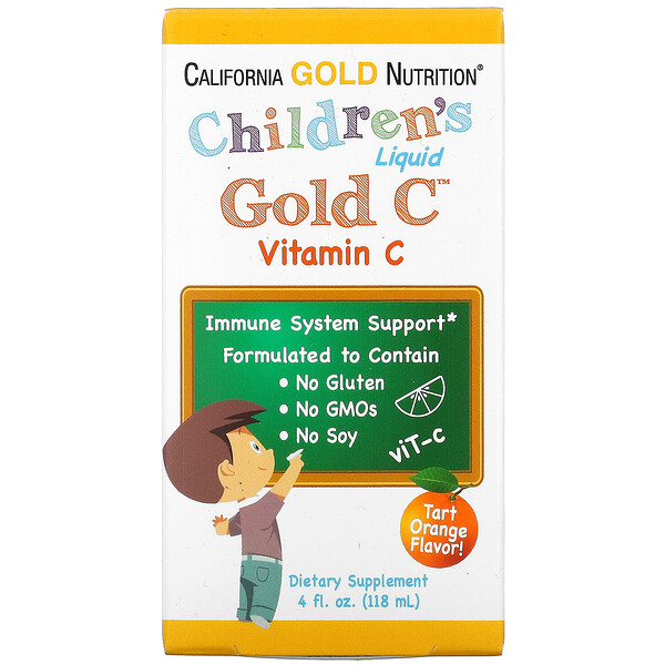 Children's Liquid Gold Vitamin C, USP Grade, Tart Orange Flavor, 4 fl oz (118 ml)