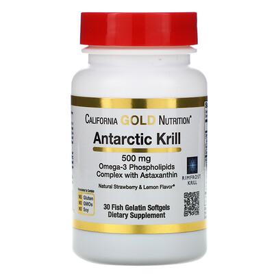 Купить RIMFROST, масло антарктического криля, с астаксантином, натуральный клубнично-лимонный вкус, 500мг, 30рыбно-желатиновых мягких таблеток