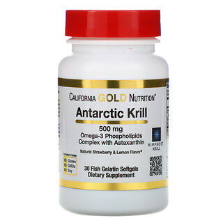 California Gold Nutrition, Antarctic Krill Oil, with Astaxanthin, RIMFROST, Natural Strawberry & Lemon Flavor, 500 mg, 30 Fish Gelatin Softgels