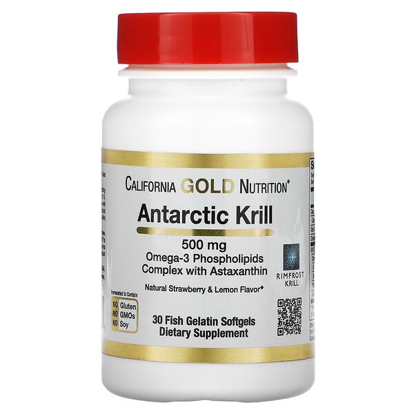 RIMFROST, Huile de krill antarctique à l'astaxanthine, Arôme naturel de fraise et de citron, 500mg, 30capsules à enveloppe molle en gélatine de poisson
