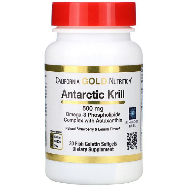 Antarctic Krill Oil, with Astaxanthin, RIMFROST, Natural Strawberry & Lemon Flavor, 500 mg, 30 Fish Gelatin Softgels