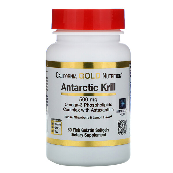 cod liver oil benefits : California Gold Nutrition, Antarctic Krill Oil, with Astaxanthin, RIMFROST, Natural Strawberry & Lemon Flavor, 500 mg, 30 Fish Gelatin Softgels