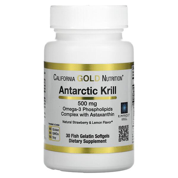 California Gold Nutrition, RIMFROST, масло антарктического криля, с астаксантином, натуральный клубнично-лимонный вкус, 500мг, 30рыбно-желатиновых капсул