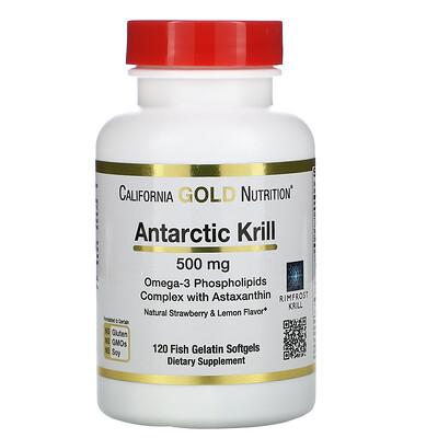 California Gold Nutrition масло антарктического криля RIMFROST с астаксантином, натуральный клубнично-лимонный вкус, 500мг, 120рыбно-желатиновых мягких таблеток