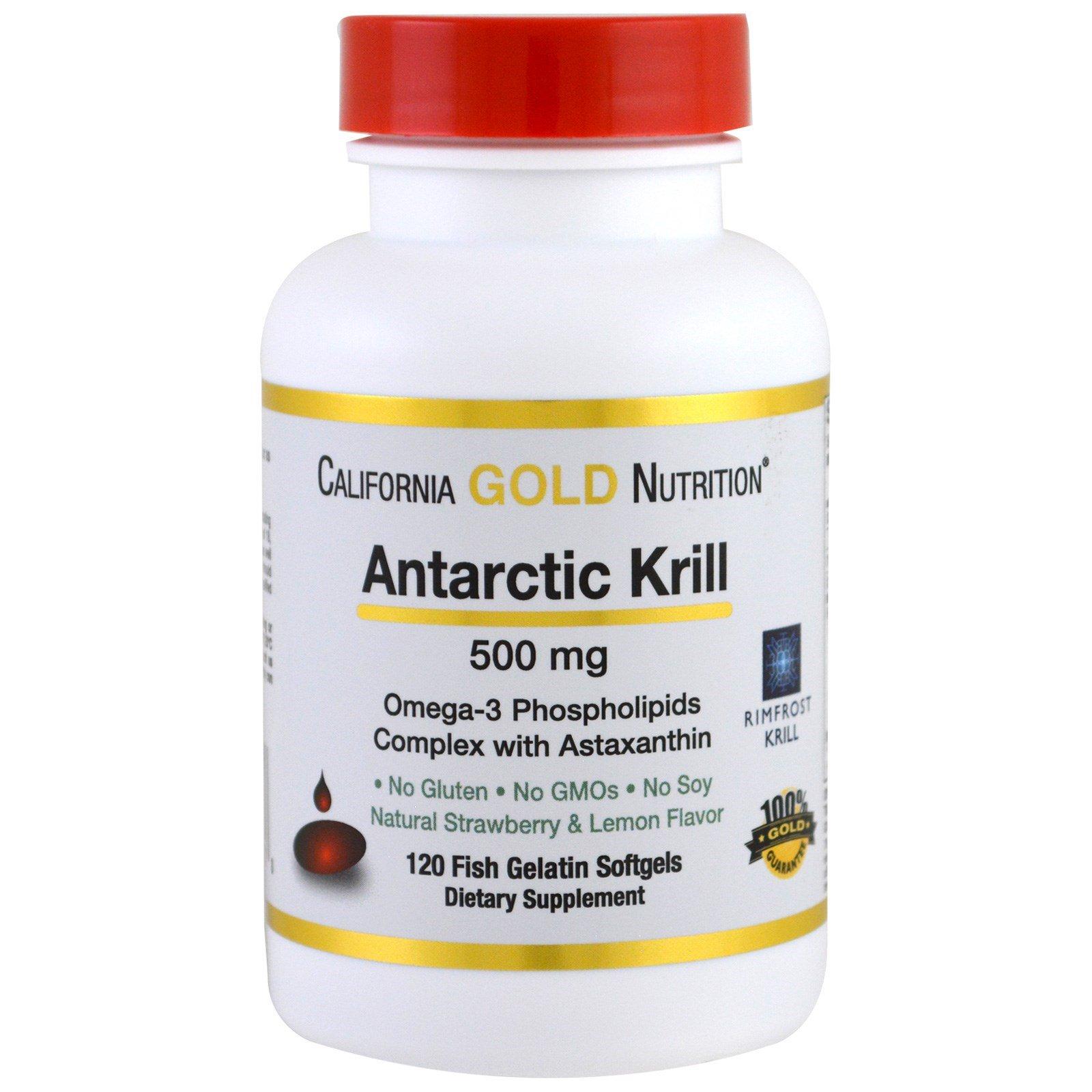 California Gold Nutrition, Жир арктического криля, с астаксантином, RIMFROST, натуральный клубничный и лимонный вкус, 500 мг, 120 желатиновых капсул-рыбок