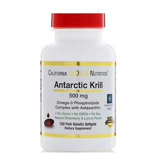 California Gold Nutrition, Antarctic Krill Oil, with Astaxanthin, RIMFROST, Natural Strawberry & Lemon Flavor, 500 mg, 120 Fish Gelatin Softgels