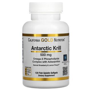 California Gold Nutrition, 南極クリル(オキアミ)オイル、アスタキサンチン配合、RIMFROST(リムフロスト)社製、ストロベリー&レモンの天然風味、500mg、魚ゼラチンソフトジェル120粒
