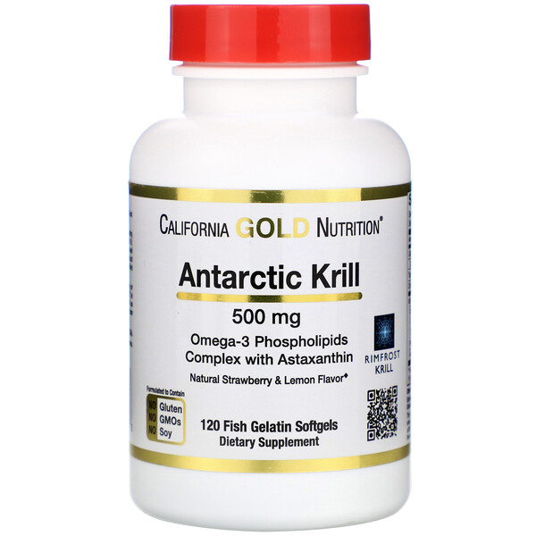 Antarctic Krill Oil, with Astaxanthin, RIMFROST, Natural Strawberry & Lemon Flavor, 500 mg, 120 Fish Gelatin Softgels