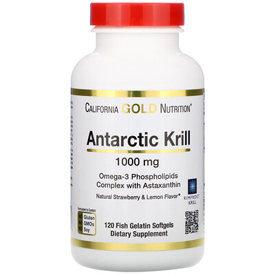 Купить Antarctic Krill Oil, Natural Strawberry & Lemon Flavor, 1, 000 mg, 120 Fish Gelatin Softgels