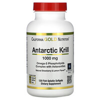 California Gold Nutrition, Antarctic Krill Oil, with Astaxanthin, RIMFROST, Natural Strawberry & Lemon Flavor, 1,000 mg, 120 Fish Gelatin Softgels