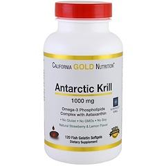 California Gold Nutrition, Жир арктического криля, с астаксантином, RIMFROST, натуральный клубничный и лимонный вкус, 1000 мг, 120 желатиновых капсул-рыбок