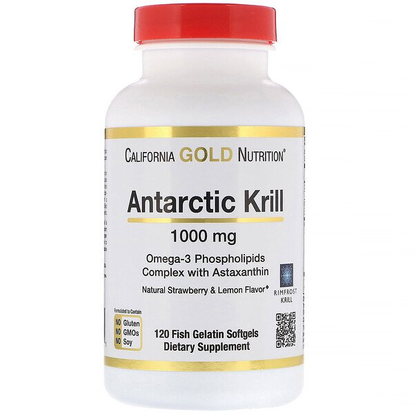 California Gold Nutrition, Antarctic Krill Oil, Natural Strawberry & Lemon Flavor, 1000 mg, 120 Fish Gelatin Softgels