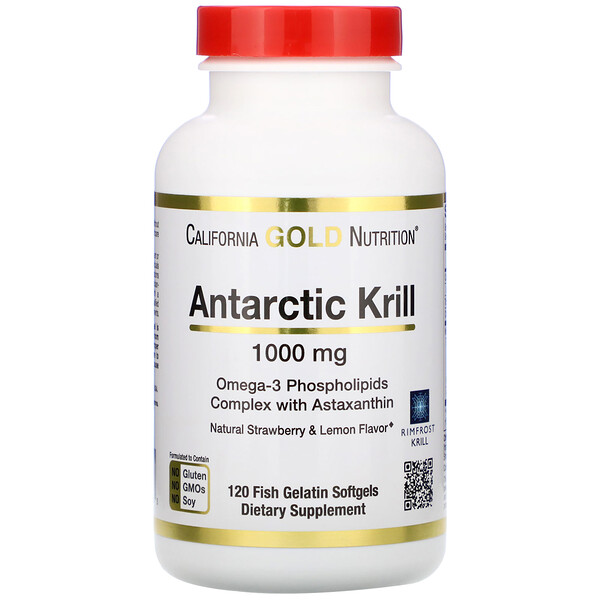 Antarctic Krill Oil, Natural Strawberry & Lemon Flavor, 1,000 mg, 120 Fish Gelatin Softgels