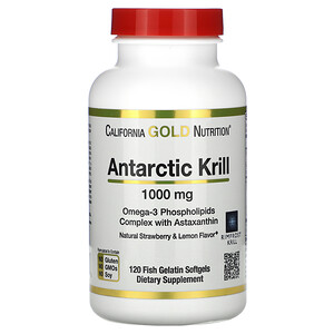 California Gold Nutrition, Antarctic Krill Oil, with Astaxanthin, RIMFROST, Natural Strawberry & Lemon Flavor, 1,000 mg, 120 Fish Gelatin Softgels отзывы покупателей