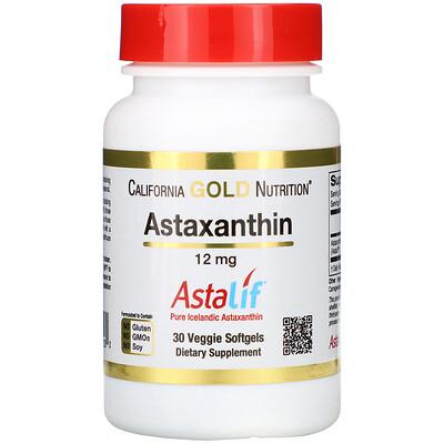 Купить Астаксантин, чистый исландский продукт AstaLif, 12мг, 30растительных мягких таблеток