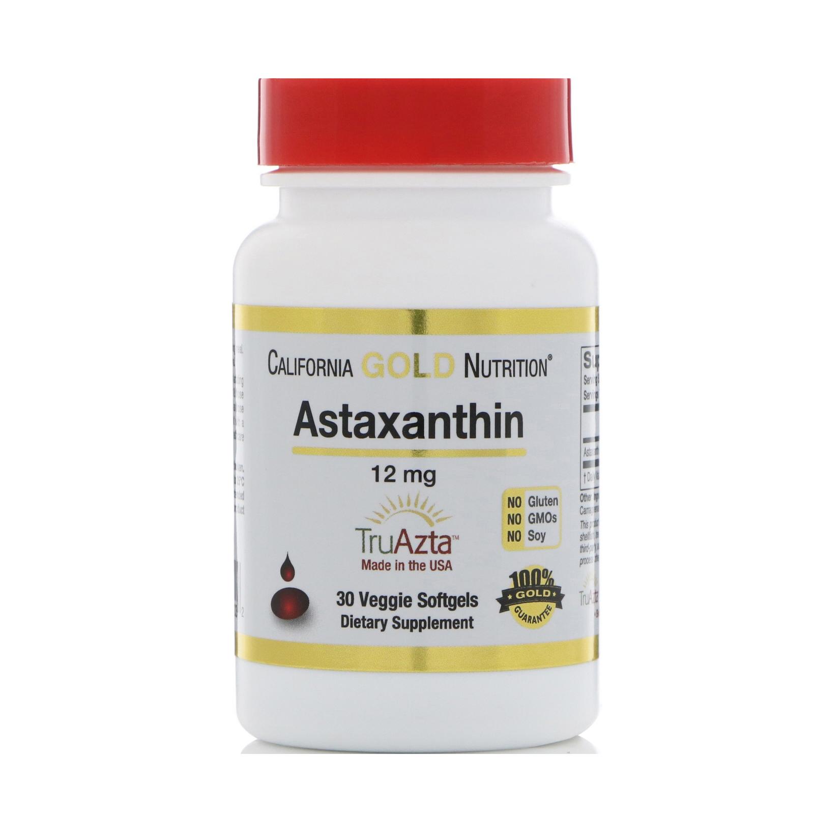 California Gold Nutrition, Натуральный астаксантин, тройная сила, получено и изготовлено в США, без ГМО, 12 мг, 30 растительных мягких капсул