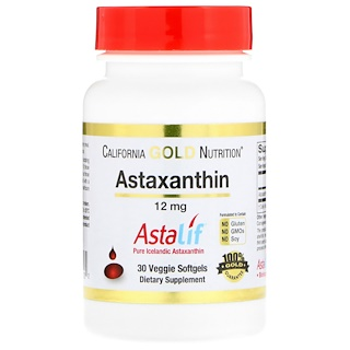 California Gold Nutrition, Astaxanthin, Extra Strength Antioxidant Carotenoid, 12 mg, 30 Veggie Softgels