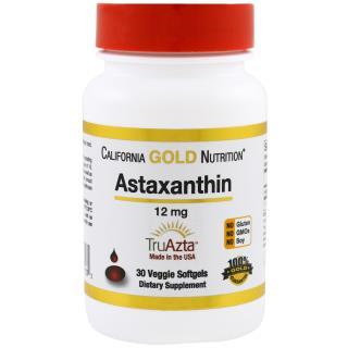 California Gold Nutrition, 天然のアスタキサンチン, 3倍濃縮, 米国産・米国製, 遺伝子組み換え無し, 12 mg, 30植物ソフトジェル