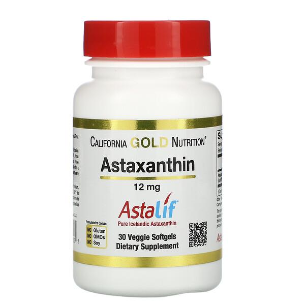 アスタキサンチン、Astalif(アスタリフ)純アイスランド産、12mg、植物性ソフトジェル30粒