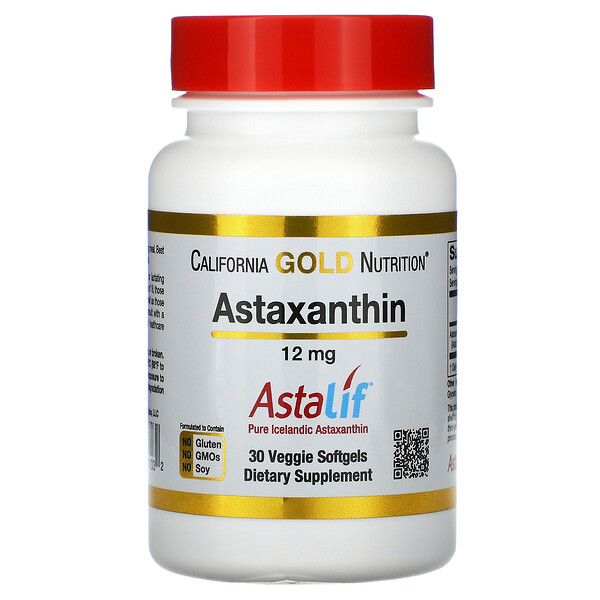 California Gold Nutrition, Astaxanthin, AstaLif Pure Icelandic, 12 mg, 30 Veggie Softgels