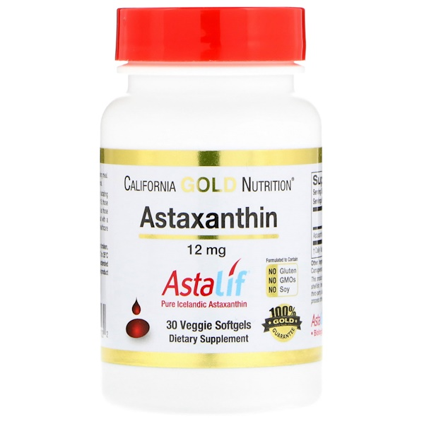 California Gold Nutrition, Astaxanthin, Naturally Occurring Antioxidant Carotenoid, 12 mg, 30 Veggie Softgels
