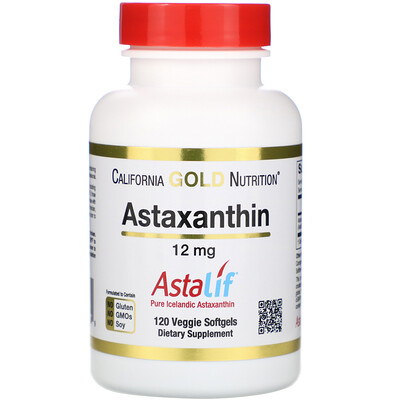 Купить Астаксантин, чистый исландский AstaLif, 12мг, 120растительных мягких таблеток