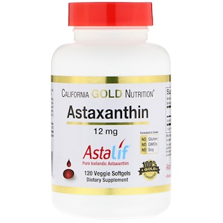 California Gold Nutrition, Astaxanthin, Naturally Occurring Antioxidant Carotenoid, 12 mg, 120 Veggie Softgels