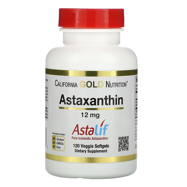 California Gold Nutrition, AstaLif, Astaxantina Islandesa Pura, 12 mg, 120 Cápsulas Softgel Vegetais