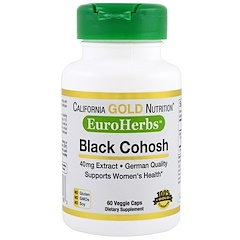 California Gold Nutrition, Black Cohosh Extract, EuroHerbs, 40 mg, 60 Veggie Caps