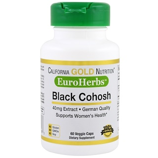 California Gold Nutrition, Black Cohosh (Acteia) XT, EuroHerbs 40 mg, VC MB, 60 unidades