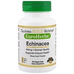 California Gold Nutrition, Эхинацея, EuroHerbs, цельный порошок, 400 мг, 60 вегетарианских капсул